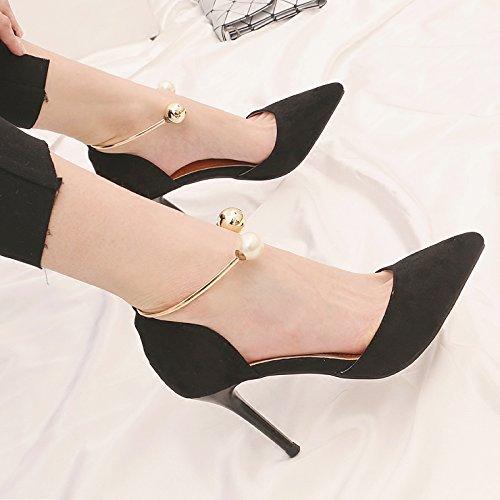 Scarpe con tacco alto in primavera kphy vuoto 9cm Matt Suggerimento wilden neri ragazza Perle Piatto e leggero con singolo scarpe Black