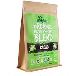 BodyMe Biologique Mélange Poudre de Protéines Végétalien | Cru Cacao | 1Kg | NON SUCRE Avec 3 Protéines de Plantes