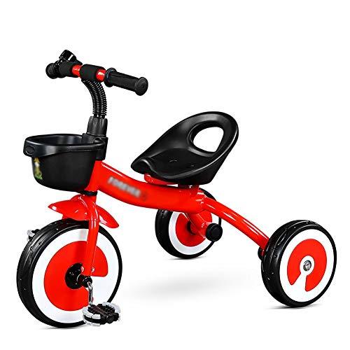 CHYEC Kinder Dreirad 2-3-5 Jahre alt Kinderwagen Kinder Leichte Kind Spielzeugauto Vorschulfahrrad (Farbe: Rot)