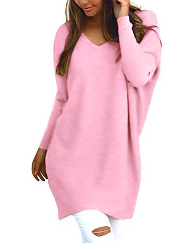 StyleDome Daman Shirt Locker Casual Langarm Oversize Jumper Shirt Dress Streetwear Einfarbig Strick Pullover Tops Rosa 52 (Damen Tunika Pullover)