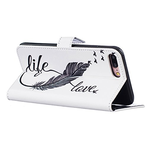 Schutzhülle für iPhone 7 Plus/8 Plus Leder Tasche Lila,BtDuck Slim Flip Cover Lanyard Ledertasche Wallet Case Bunte Muster Patterned Handytasche PU Leder Hülle für Apple iPhone 7 Plus/8 Plus 5,5 Zoll  Relief,love life