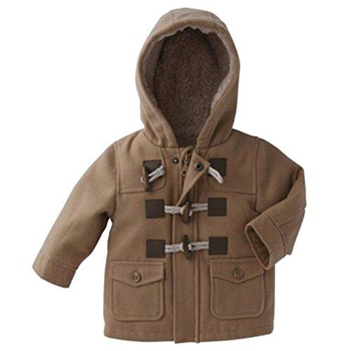 Herren 4-taste (Mantel mit Kapuze für kinder Baby Jungen Horn-Tasten Lang Dufflecoat Winter Baumwolle Warm Outerwear Jacke Braun / 120)