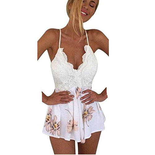 Internet Damen Kleid Lace Druck mit V-Ausschnitt Riemchen Jumpsuit (Short Dress Lace Shorts)