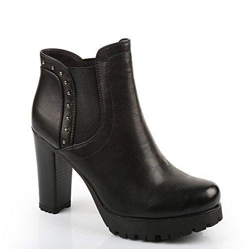 Ideal Shoes–Scarponcini stile Chelsea con Tacco spessa incrostate di chiodi Shayna Nero