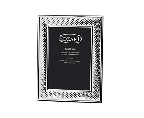 EDZARD Bilderrahmen Rahmen Fotorahmen Viareggio für Foto 13 x 18 cm, versilbert, anlaufgeschützt