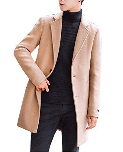 Uomo trench coat sottile caloroso cappotto di lana finto inverno classico collare giacche manica lunga cachi xl