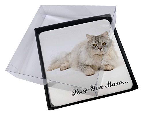 Advanta - Coaster Set 4X Chinchilla Perserkatze 'Love You Mum' Bild Setzer gesetzt -