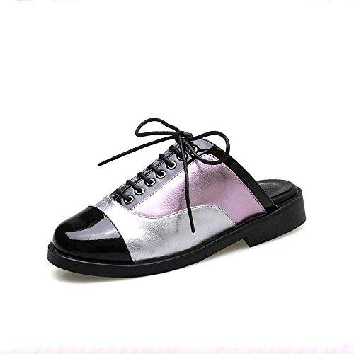 Heart&M Frauen geschlossene Zehe Runde Toe Lace-up-flache Ferse-niedrige Ferse Multicolor Slippers Sandalen Lederschuhe Purple