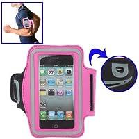 Brassard sport tour de bras rose pour iPhone 4 & 4S / iPhone 4 (CDMA) / iPhone 3G / 3GS / iPod Touch 4 idéal pour les sportifs, course à pied ou salle de sport avec trous pour écouteurs, bande réflechissante et pochette pour clé.