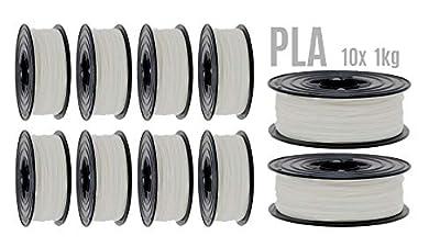 PLA Filament 3D Drucker 1,75mm / 10x 1kg Rolle Weiß Weiss für 3D Printer oder Stift 10er Set (10Kg) …