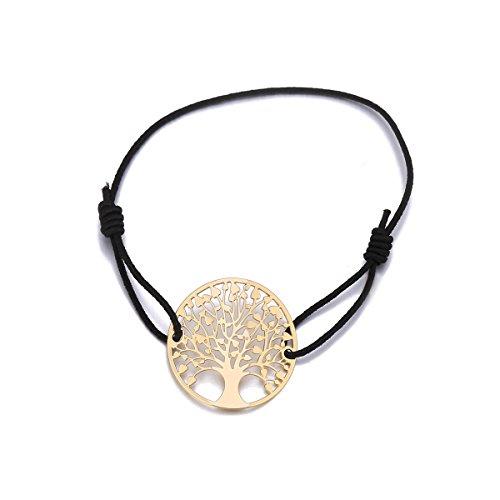 Baum des Lebens Armband für Frauen, Stretch-Armband Charm Freundschaft Manschette Armband Mädchen Gold Silber Armband (Vergoldet mit schwarzem Seil) - Geld-baum Für Partei Die