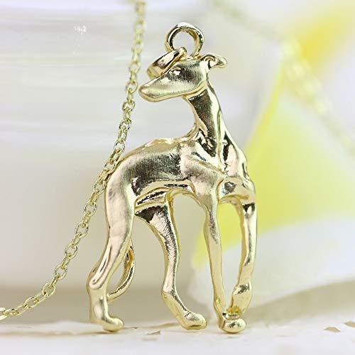 VAWAA Greyhound Halskette Adopt Rescue Whippet Dog Shape Gold Gefüllte Bronze Inspirierte Chain Halskette Für Frauen -