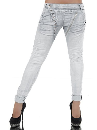 L368 Damen Jeans Hose Boyfriend Damenjeans Harem Baggy Chino Haremshose, Farben:Hellgrau;Größen:38 (M) (Jeans Dunkle Stonewashed)