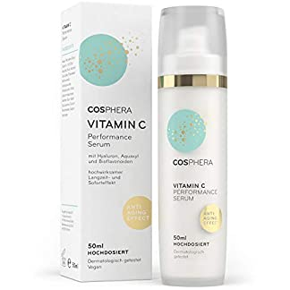 Cosphera – Sérum de alto rendimiento con vitamina C, 50 ml, gel concentrado con ácido hialurónico para la cara, el cuello y los ojos, tratamiento hidratante vegano antiarrugas, para mujeres y hombres
