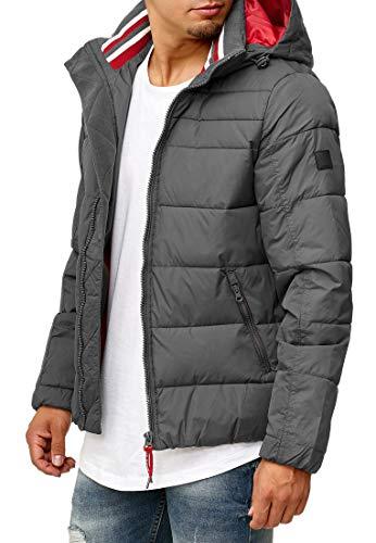 Indicode Herren Philpot Steppjacke Übergangsjacke Jacke mit Kapuze Dk Grey S - 4