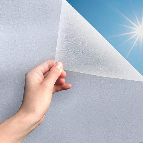 MARAPON ® Fensterfolie selbsthaftend Blickdicht [90x200 cm] inkl. eBook mit Profitipps - Sichtschutzfolie Anti-UV mit statischer Haftung - Milchglasfolie