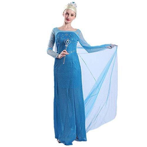 Prinzessin Halloween Kostüm Eis - Z&S Frauen Halloween COS Charakter Kostüm EIS Romantik Prinzessin Kleid Cosplay Aisha Queen Erwachsenen Kostüm,Blue,M