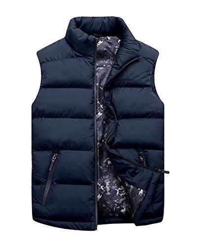LaoZanA Uomo Inverno Gilet Senza Maniche Giubbotto Piumino Giacca Smanicato Caldo Cappotto Blu Scuro 7XL