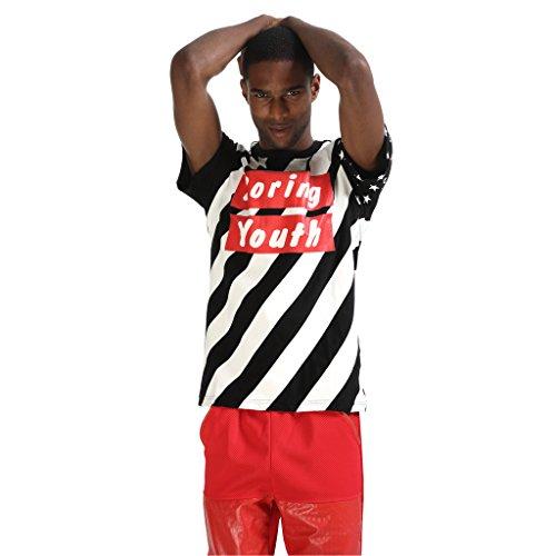 Pizoff Unisex Hip Hop Kurz Schwarz T Shirt mit Ziffer Druckmuster Metall Stern P3258