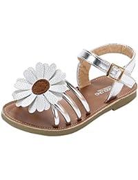 Sandalias Niña verano ❤️ Amlaiworld Sandalias romanas de niña bebé de flores Zapatos de princesa Zapatos planos Zapatilla de niñas de playa Zapatos de cuna Chica (Plata, 21)