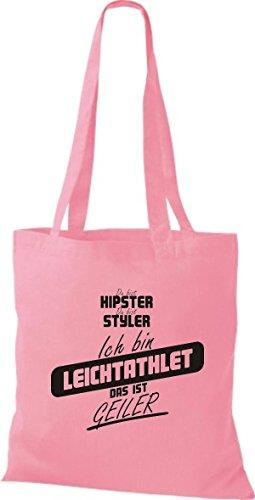 Shirtstown Stoffbeutel du bist hipster du bist styler ich bin Leichtathlet das ist geiler rosa