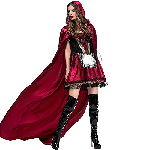 COSOER Nachtclub Queen Cosplay Kostüm Rotkäppchen Stage Dress Für Halloween Female Wear,Red-L (Einfach Red Queen Kostüm)