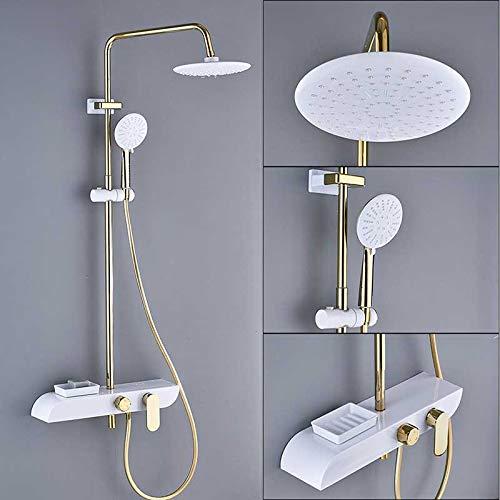 LWSFZAS Golden White Bad Dusche Wasserhahn Wand Regendusche Set Regendusche 8