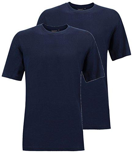 Redfield T-Shirt Doppelpack Rundhals XL - 10XL schwarz, blau, weiß, grau melange, grau anthrazit Blau