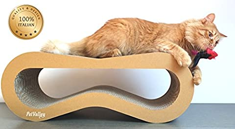 Cardboard cat scratcher-lounger | 100% Made in Italy | Design Product | Purrfect for lounging and play | Gym, scratcher and comfy perch | Fully recyclable | A great alternative to a sisal scratching post |