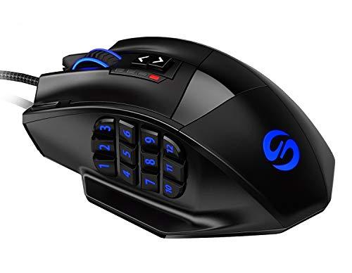 UtechSmart Venus -gaming maus 12 tasten 16400 dpi USB Laser Gaming Mouse   18 Tasten   16400 dpi Abtastrate   High Precision   konfigurierbare LED-Farb-Beleuchtung   Avago Sensor Technology   MMO Gaming   inkl. software (programmierbare Tasten)   bis zu 30G Beschleunigung   ergonomisches Design