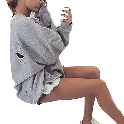 Hoodie Damen Xinan Sweatshirt Pullover Crop Top Coat Sport Tops (L, Grau)