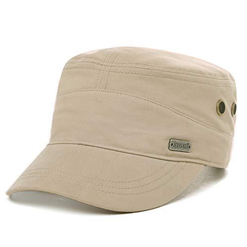 Comhats Gorras de béisbol para Hombre, 100% algodón, clásicas, Militares, Ajustables (6 Colores, 2 tamaños, 58-63 cm) Beige 89104A_Beige Large