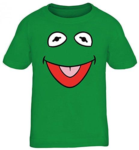 Fasching Karneval Verkleidung Kids Kinder T-Shirt Frosch Kostüm, Größe: 122/128,Kelly Green (Kind Kostüm Frosch)