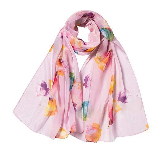 Oyedens Damen Schal Halstuch Tuch aus Chiffon für Frühling Sommer Ganzjährig, Bedruckter Seidenschal, Klimaanlage, Schal -