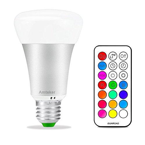 Amteker RGBW LED Bombilla con Control Remoto de 21 Teclas - 10W E27 Base Noche Luz - 12 Colores Múltiples Dimmable Bombilla - Lámpara LED de 330 Grados