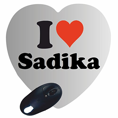 """Exklusive Geschenkidee: Herz Mauspad """"I Love Sadika"""" eine tolle Geschenkidee die von Herzen kommt- Rutschfestes Mousepad- Weihnachts Geschenktipp"""