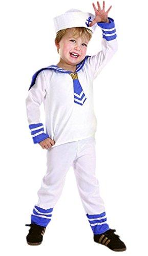 Pirat Kostüm Marine Jack - Luxuspiraten - Jungen Matrosen Kostüm, 104, Weiß
