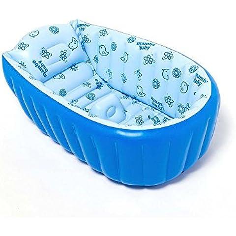 Baby Vasca Da Bagno Doccia, spessore pieghevole portatile gonfiabile vasca, Mini Piscina, per neonati, con morbido cuscino per neonati da 0–3anni - Valve Cuscino