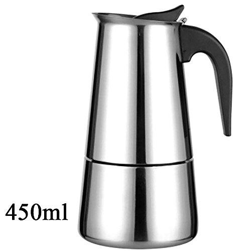 Kompassswc Edelstahl Kaffeekocher Espressokocher Mokkakocher für Herd (450mL Kapazität für 9...