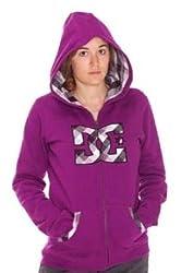 DC Shoes Damen Full Zip Hoodie Doppel Filled Logo Fleece, Grapes, XS, D065460057_Grapes_GPSD