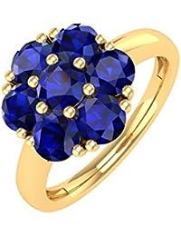 14K Gold Blau Saphir Rund Engagement Ring (11/4Karat)