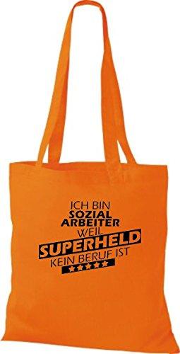 Stoffbeutel Ich bin Sozialarbeiter, weil Superheld kein Beruf ist Orange
