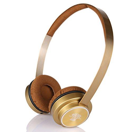 Letton Golden Age M6 stereo Music cuffie microfono e fascia per capelli elasticizzata, Great Heavy Bass per iPhone, smartphone Android, PC, laptop, MP3,MP4, Laptop