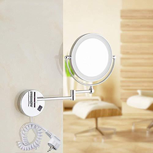 Auxent Kosmetikspiegel mit LED Beleuchtung und 1-/ 5-facher Vergrößerung aus Kristallglas, Edelstahl und Messing, Doppelseitig, Rostfrei, Schminkspiegel Beleuchtet für Badezimmer, Kosmetikstudio, Spa und Hotel - 6