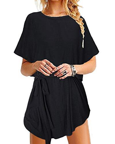 YOINS Sommerkleid Damen Tunika Tshirt Kleid Bluse Kurzarm MiniKleid Boho Maxikleid Rundhals Bindegürtel-Schwarz EU40-42