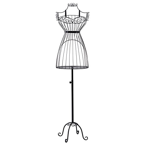 SONGMICS Busto de señora para Costura Maniquí de exposición metálico HRA09B