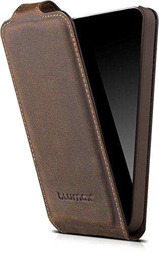 Blumax Apple iPhone SE 5 / 5S Flip-Case Handyhülle aus Leder im Vintage-Stil mit Magnetverschluss (4 Zoll - antik braun)