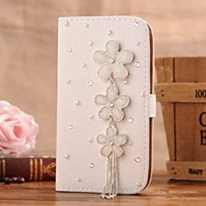 Neekor(TM) Apple iPhone 4 4G 4S Bling Diamond Folio Leather Beautiful Case Cover With Card Holster and Magnetic Flip Horizontals - String Orchid White Flower