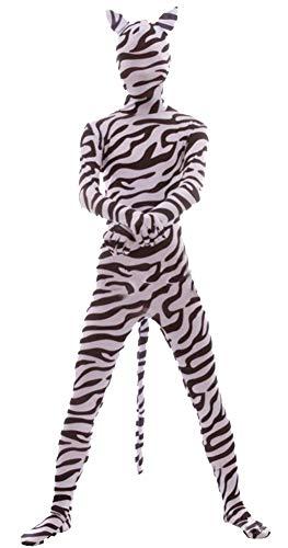 Bodysuit Lycra Spandex Schwarz Kostüm - Icegrey Zentai Spandex Ganzkörperanzug Anzug Lycra Bodysuits Kostüm Zebra-Kinder K-L