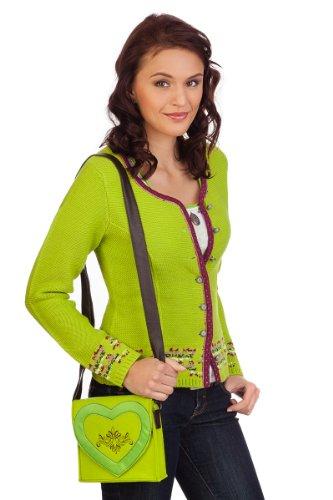 Damen Trachten Strickjacke - SCHLAT - denimblau, lime, grasgrün, Größe XXL